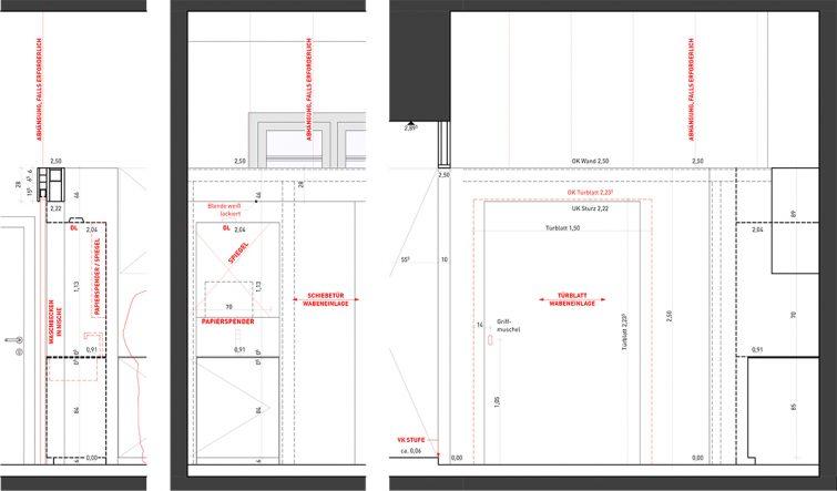 Pos. 3 Trennwand, Schiebetür & Waschbecken _ Layout